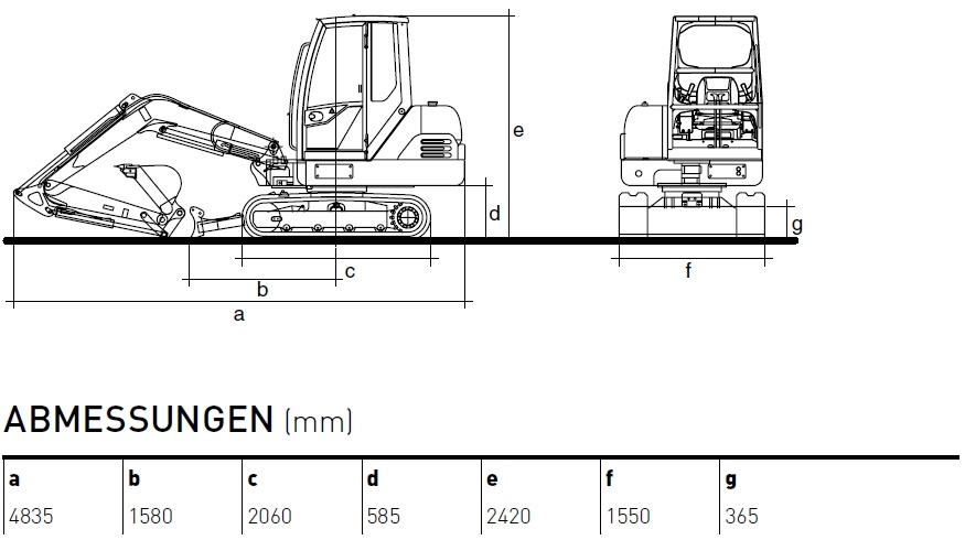 KATO 35 N Minibagger Diagramm