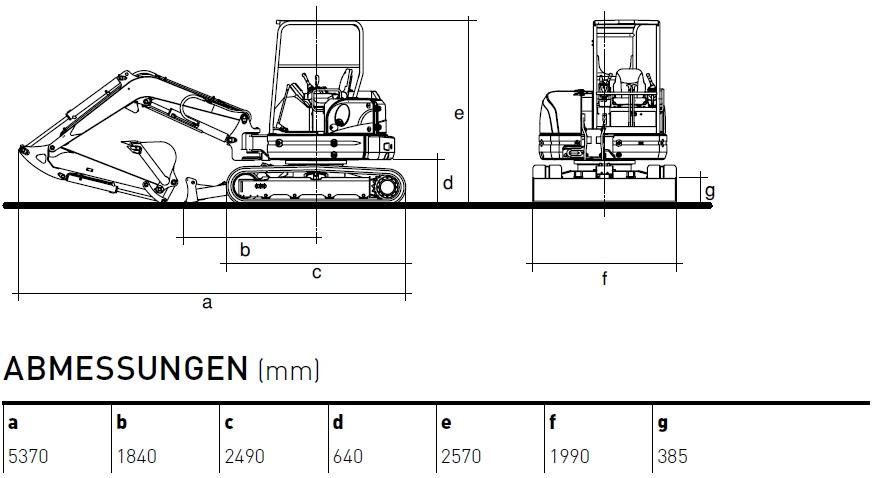 KATO 55 N Minibagger Diagramm